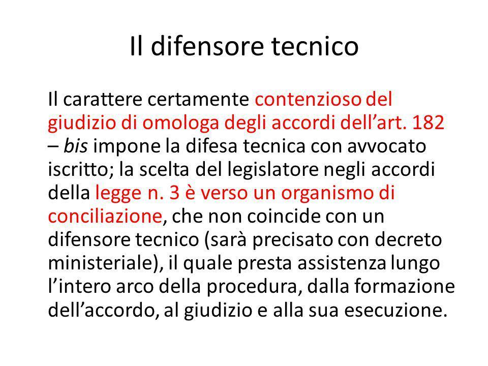 Il difensore tecnico Il carattere certamente contenzioso del giudizio di omologa degli accordi dell'art.