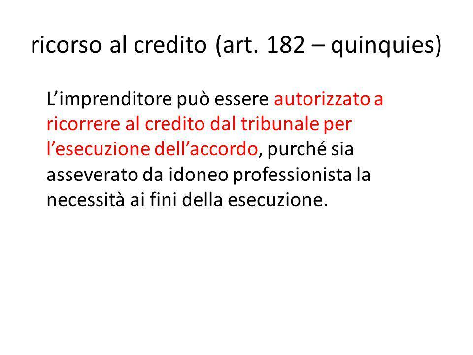 ricorso al credito (art.