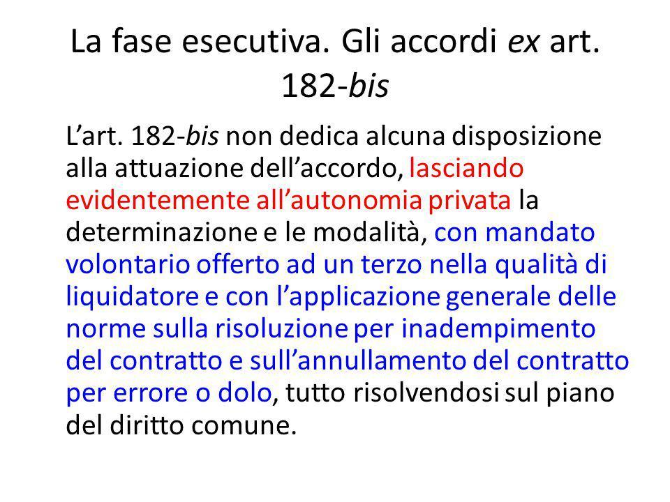 La fase esecutiva. Gli accordi ex art. 182-bis L'art.