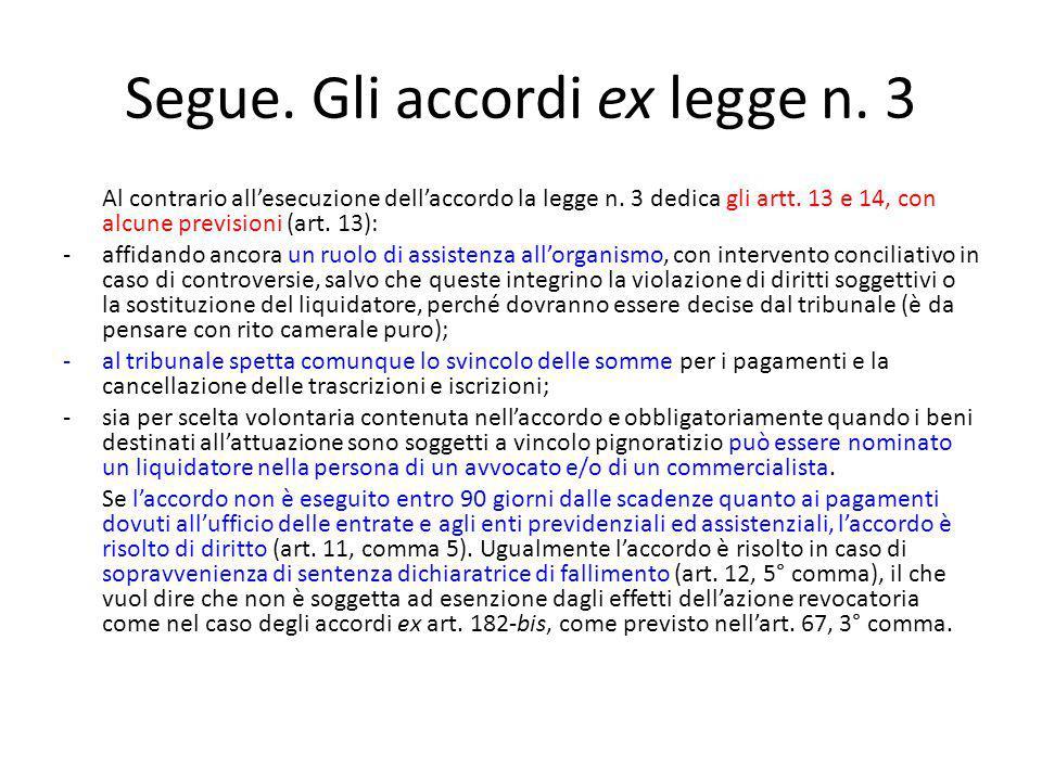 Segue. Gli accordi ex legge n. 3 Al contrario all'esecuzione dell'accordo la legge n.