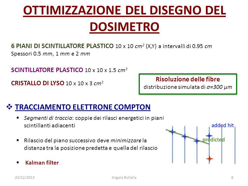 20/12/2013Angela Bollella8 6 PIANI DI SCINTILLATORE PLASTICO 10 x 10 cm 2 (X,Y) a intervalli di 0.95 cm Spessori 0.5 mm, 1 mm e 2 mm SCINTILLATORE PLA