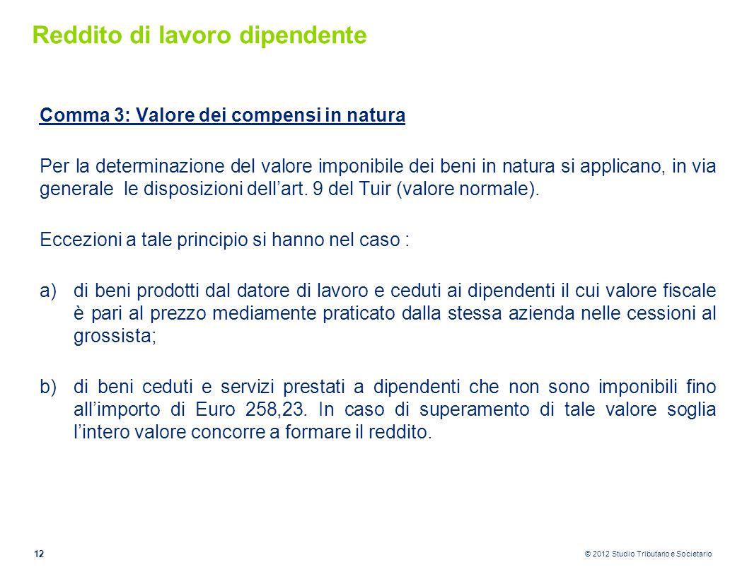 © 2012 Studio Tributario e Societario Reddito di lavoro dipendente Comma 3: Valore dei compensi in natura Per la determinazione del valore imponibile