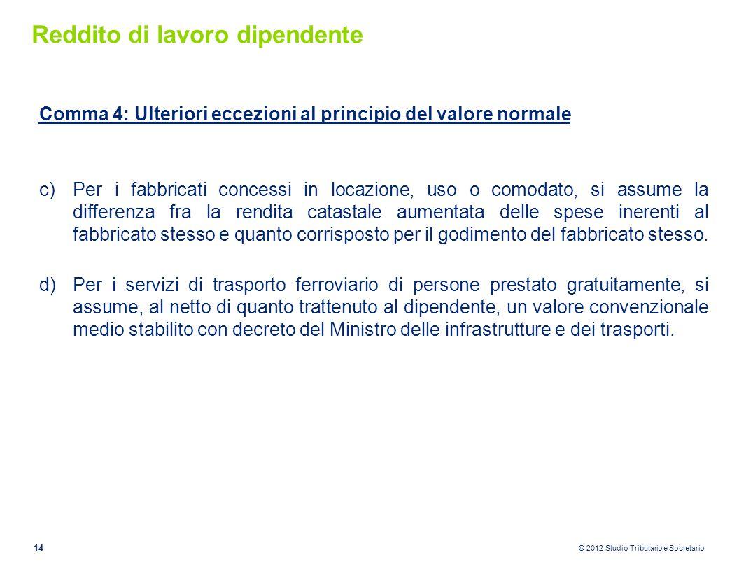 © 2012 Studio Tributario e Societario Reddito di lavoro dipendente Comma 4: Ulteriori eccezioni al principio del valore normale c)Per i fabbricati con