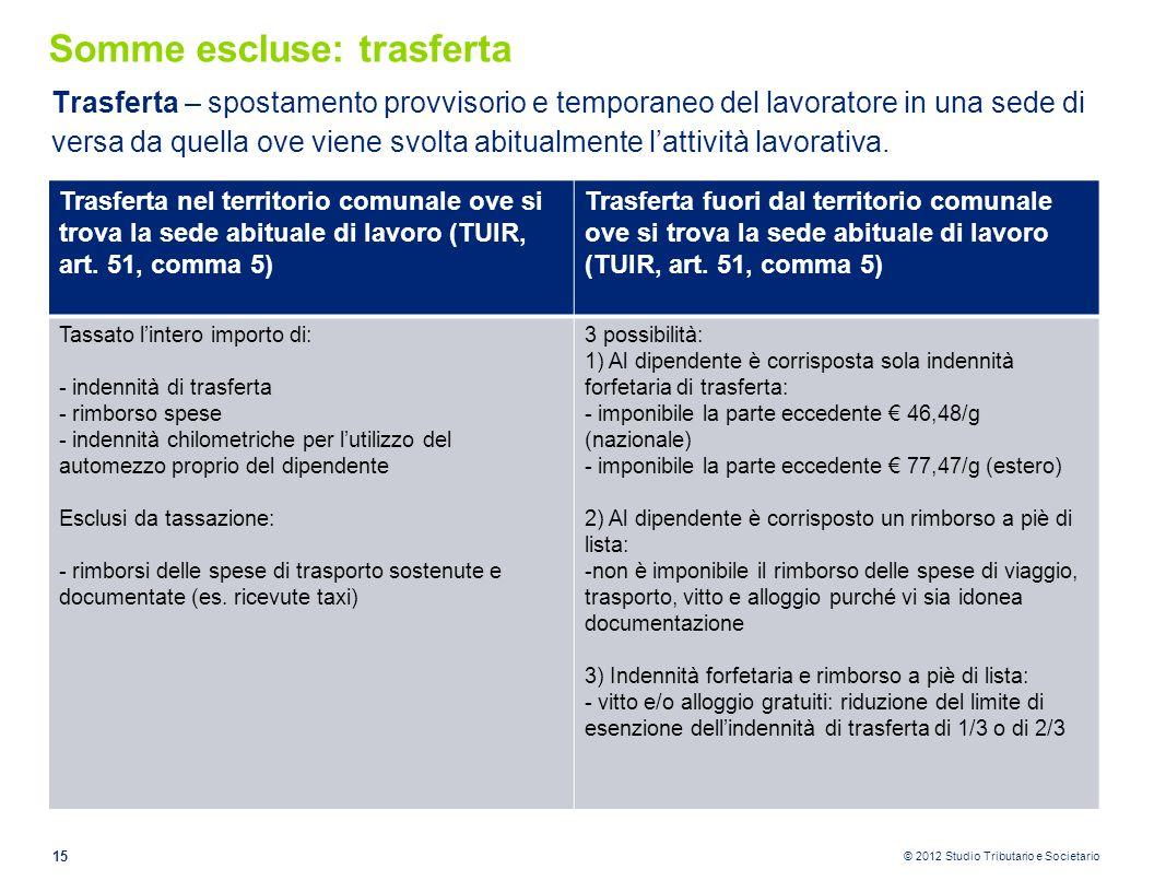 © 2012 Studio Tributario e Societario Somme escluse: trasferta Trasferta – spostamento provvisorio e temporaneo del lavoratore in una sede di versa da