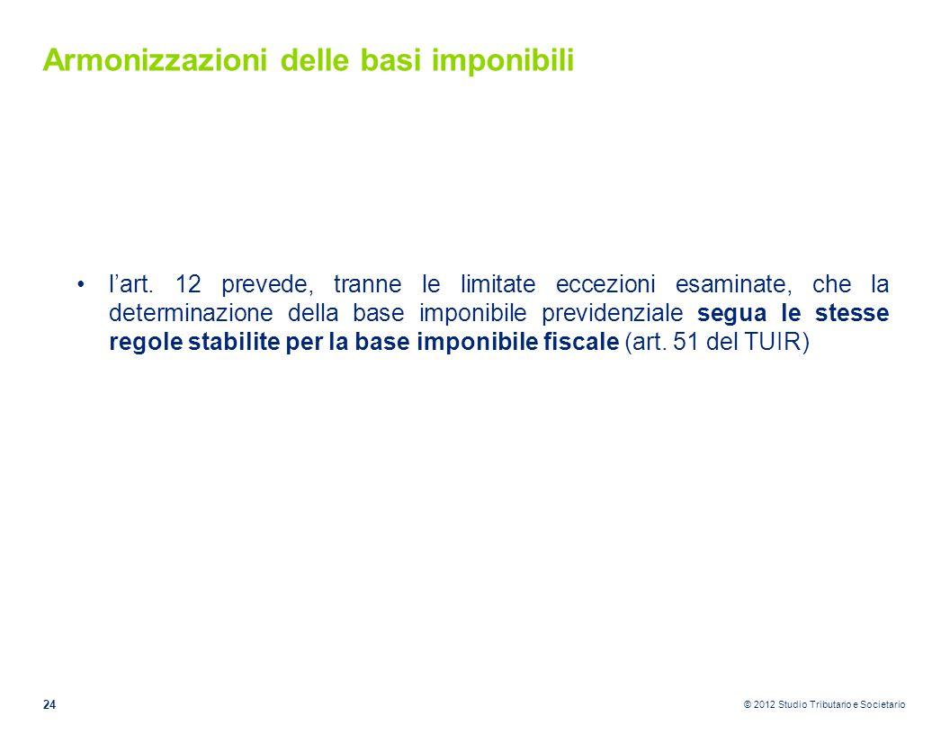 © 2012 Studio Tributario e Societario Armonizzazioni delle basi imponibili l'art. 12 prevede, tranne le limitate eccezioni esaminate, che la determina