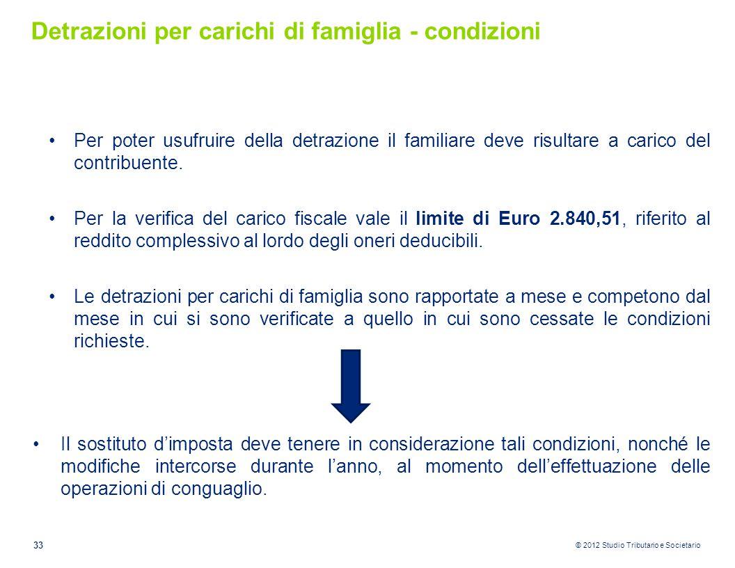 © 2012 Studio Tributario e Societario Detrazioni per carichi di famiglia - condizioni Per poter usufruire della detrazione il familiare deve risultare