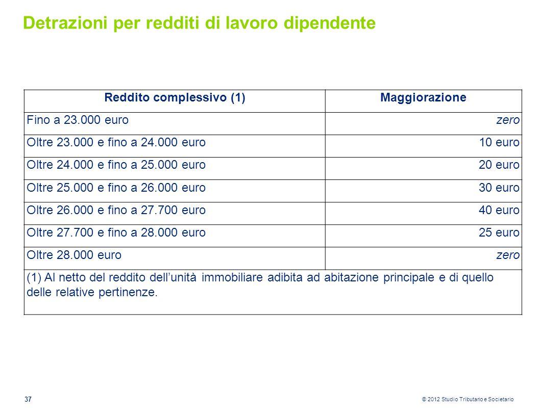 © 2012 Studio Tributario e Societario Detrazioni per redditi di lavoro dipendente 37 Reddito complessivo (1)Maggiorazione Fino a 23.000 eurozero Oltre