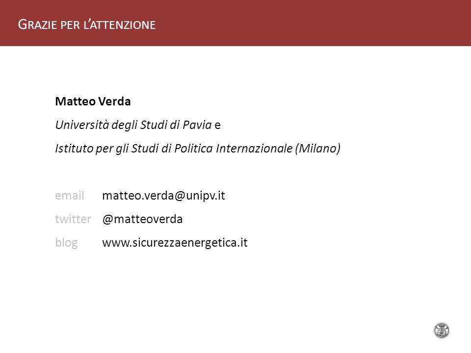 G RAZIE PER L ' ATTENZIONE Matteo Verda Università degli Studi di Pavia e Istituto per gli Studi di Politica Internazionale (Milano) email matteo.verda@unipv.it twitter @matteoverda blog www.sicurezzaenergetica.it