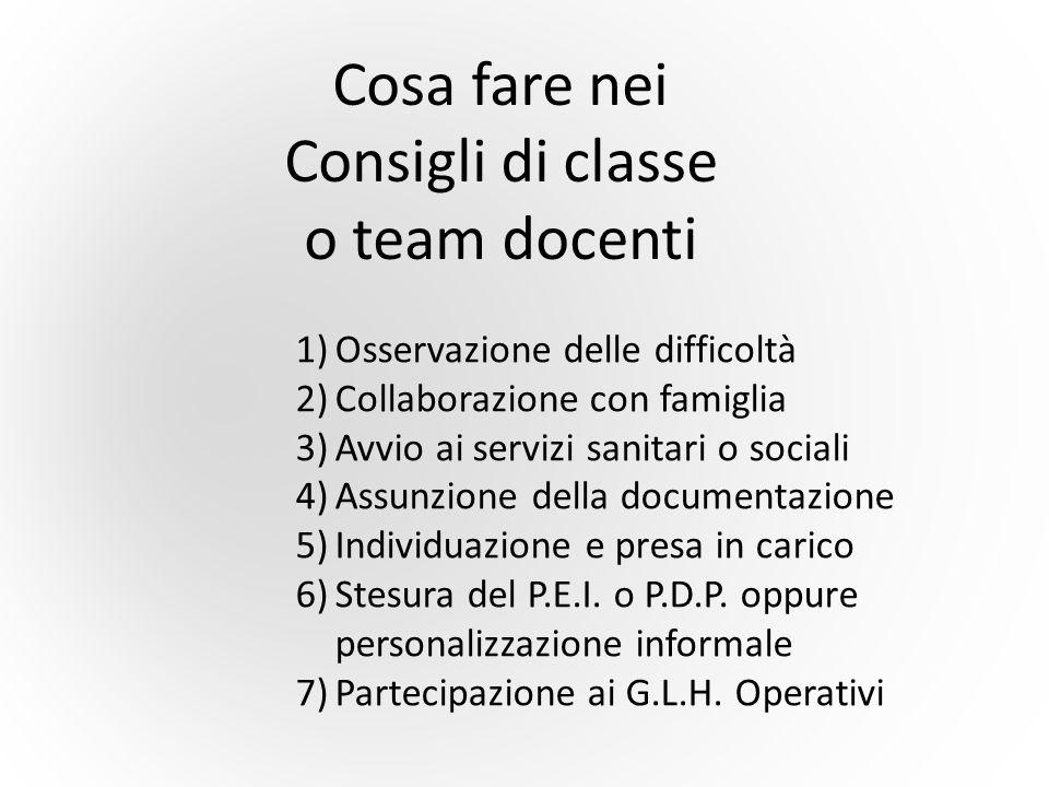 Cosa fare nei Consigli di classe o team docenti 1)Osservazione delle difficoltà 2)Collaborazione con famiglia 3)Avvio ai servizi sanitari o sociali 4)