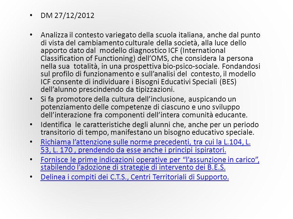DM 27/12/2012 Analizza il contesto variegato della scuola italiana, anche dal punto di vista del cambiamento culturale della società, alla luce dello