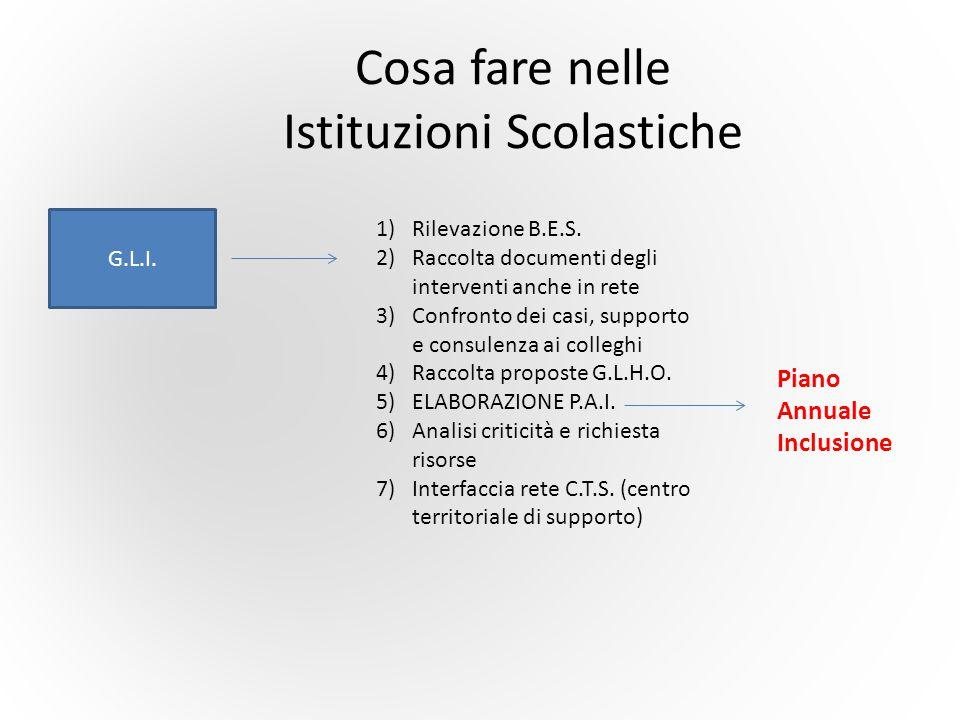 Cosa fare nelle Istituzioni Scolastiche G.L.I. 1)Rilevazione B.E.S. 2)Raccolta documenti degli interventi anche in rete 3)Confronto dei casi, supporto