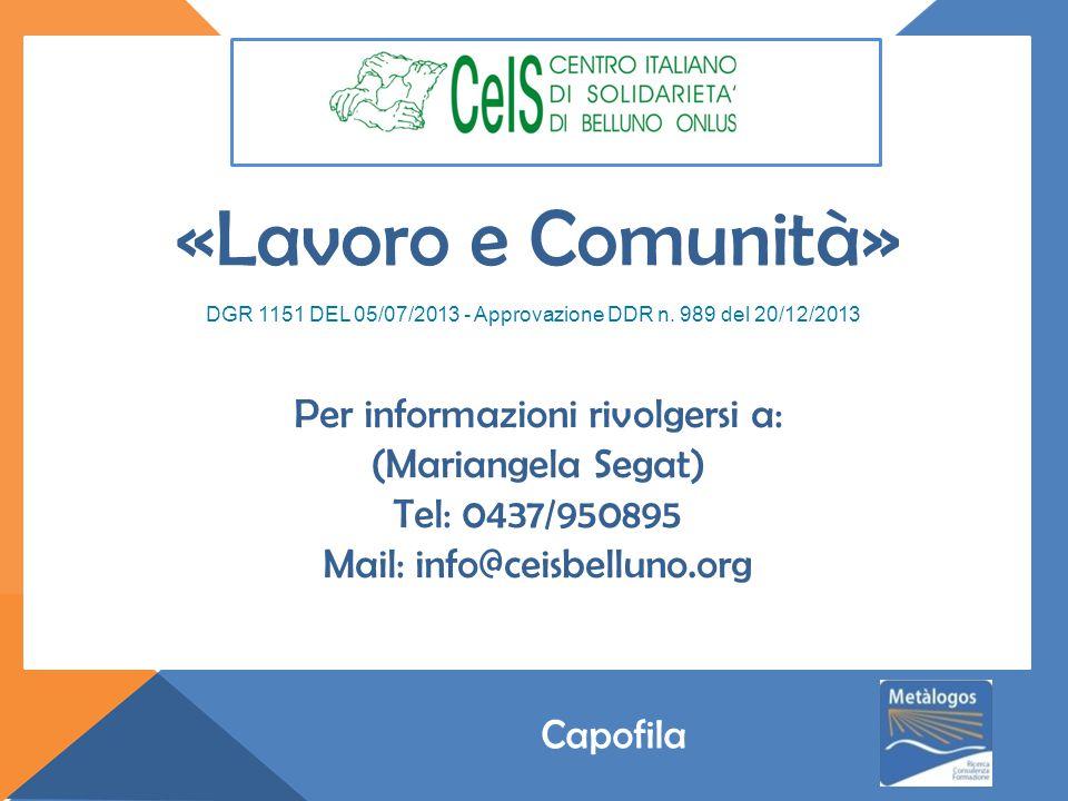 Per informazioni rivolgersi a: (Mariangela Segat) Tel: 0437/950895 Mail: info@ceisbelluno.org DGR 1151 DEL 05/07/2013 - Approvazione DDR n.