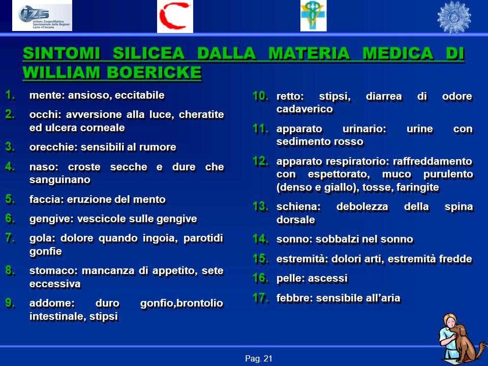 Pag.21 SINTOMI SILICEA DALLA MATERIA MEDICA DI WILLIAM BOERICKE 1.