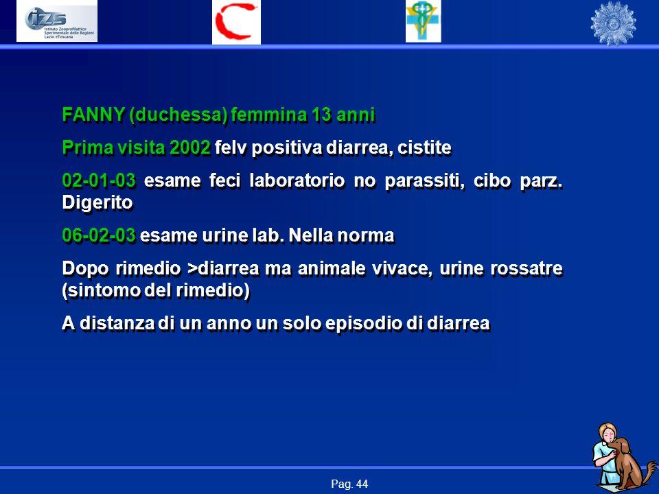 Pag. 44 FANNY (duchessa) femmina 13 anni Prima visita 2002 felv positiva diarrea, cistite 02-01-03 esame feci laboratorio no parassiti, cibo parz. Dig