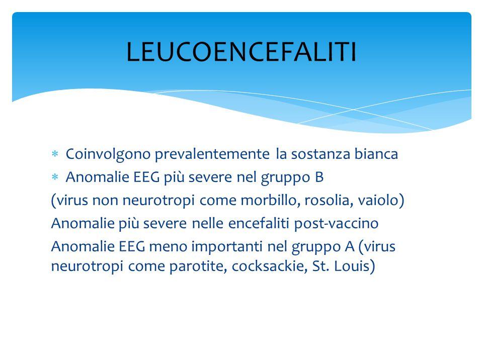  Coinvolgono prevalentemente la sostanza bianca  Anomalie EEG più severe nel gruppo B (virus non neurotropi come morbillo, rosolia, vaiolo) Anomalie più severe nelle encefaliti post-vaccino Anomalie EEG meno importanti nel gruppo A (virus neurotropi come parotite, cocksackie, St.