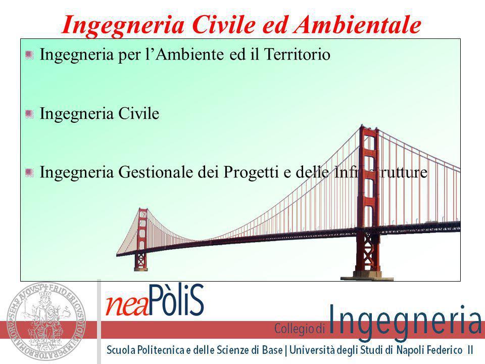 Ingegneria per l'Ambiente ed il Territorio Ingegneria Civile Ingegneria Gestionale dei Progetti e delle Infrastrutture Ingegneria Civile ed Ambientale