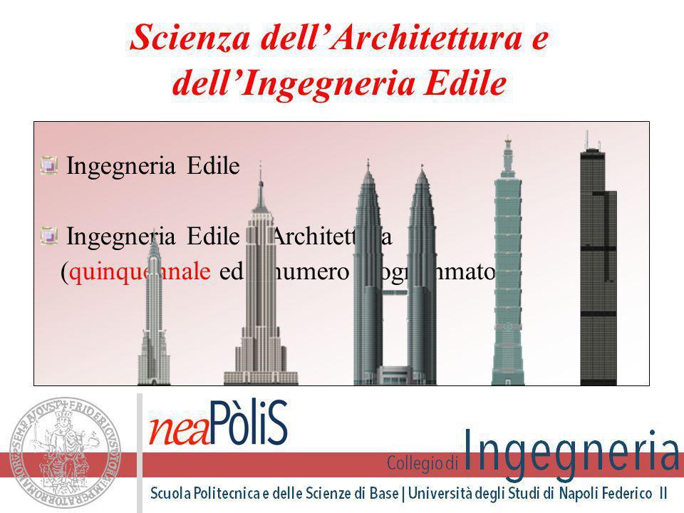 Ingegneria Edile Ingegneria Edile – Architettura (quinquennale ed a numero programmato) Scienza dell'Architettura e dell'Ingegneria Edile