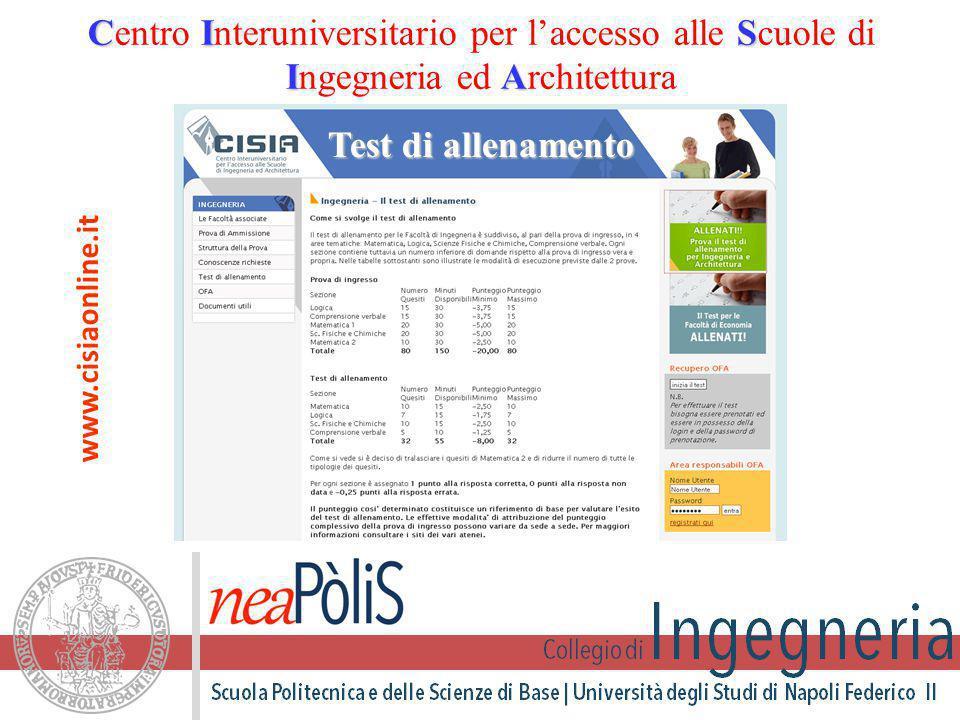Test di allenamento CIS IA Centro Interuniversitario per l'accesso alle Scuole di Ingegneria ed Architettura www.cisiaonline.it