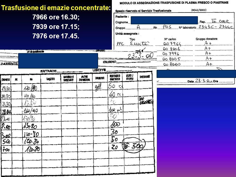 Trasfusione di emazie concentrate: 7966 ore 16.30; 7939 ore 17.15; 7976 ore 17.45.