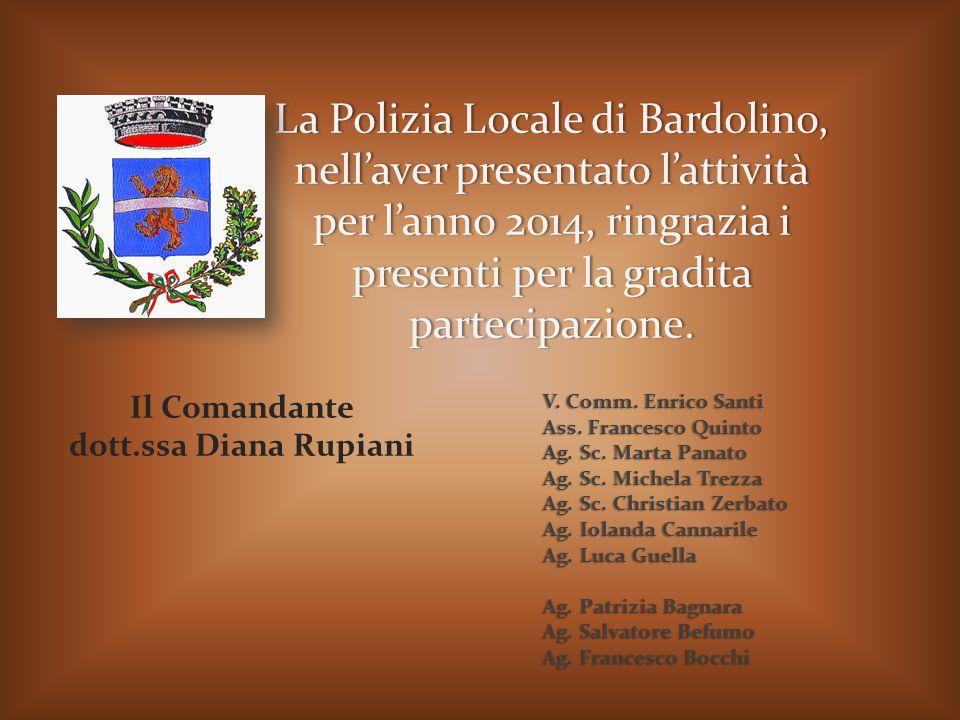 La Polizia Locale di Bardolino, nell'aver presentato l'attività per l'anno 2014, ringrazia i presenti per la gradita partecipazione. Il Comandante dot