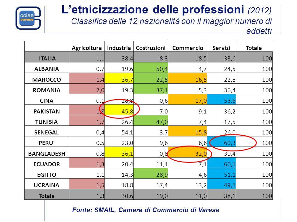 L'etnicizzazione delle professioni (2012) Classifica delle 12 nazionalità con il maggior numero di addetti AgricolturaIndustriaCostruzioniCommercioServiziTotale ITALIA1,138,48,318,533,6100 ALBANIA0,719,650,44,724,5100 MAROCCO1,436,722,516,522,8100 ROMANIA2,019,337,15,336,4100 CINA0,128,80,617,053,6100 PAKISTAN1,845,87,09,136,2100 TUNISIA1,726,447,07,417,5100 SENEGAL0,454,13,715,826,0100 PERU 0,523,09,66,660,3100 BANGLADESH0,836,10,832,030,4100 ECUADOR1,320,411,17,160,1100 EGITTO1,114,328,94,651,1100 UCRAINA1,518,817,413,249,1100 Totale1,330,619,011,038,1100 Fonte: SMAIL, Camera di Commercio di Varese