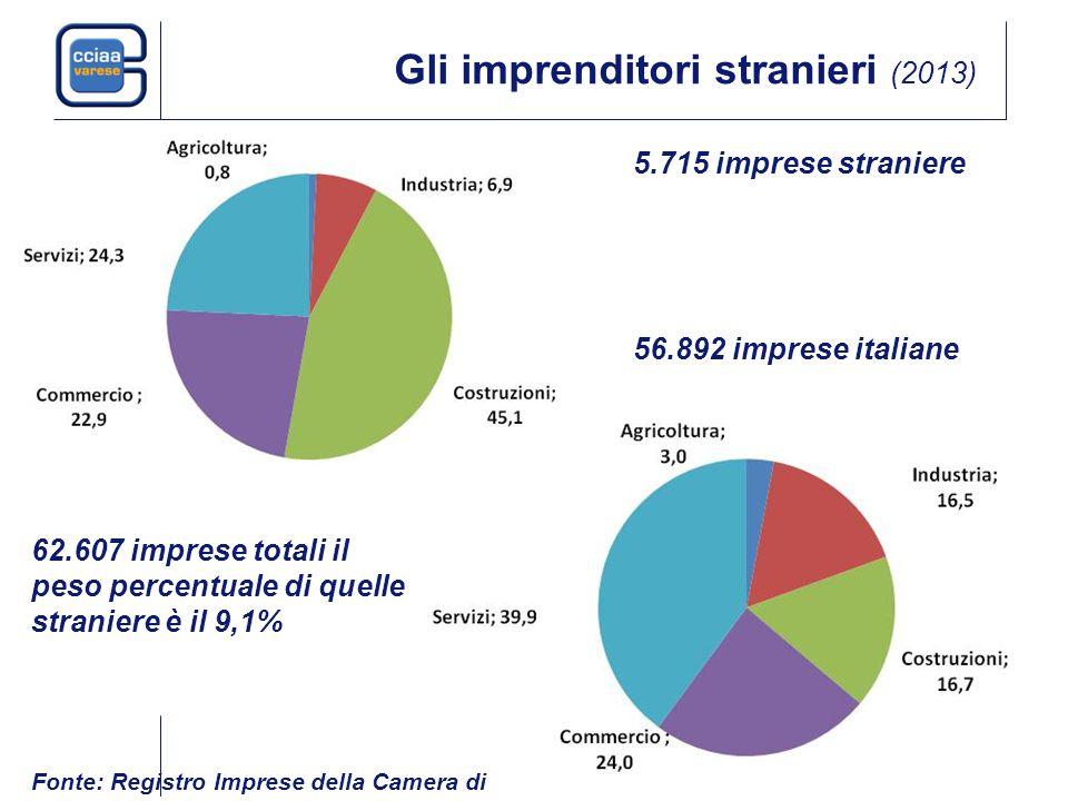 Gli imprenditori stranieri (2013) 5.715 imprese straniere 62.607 imprese totali il peso percentuale di quelle straniere è il 9,1% 56.892 imprese italiane Fonte: Registro Imprese della Camera di Commercio