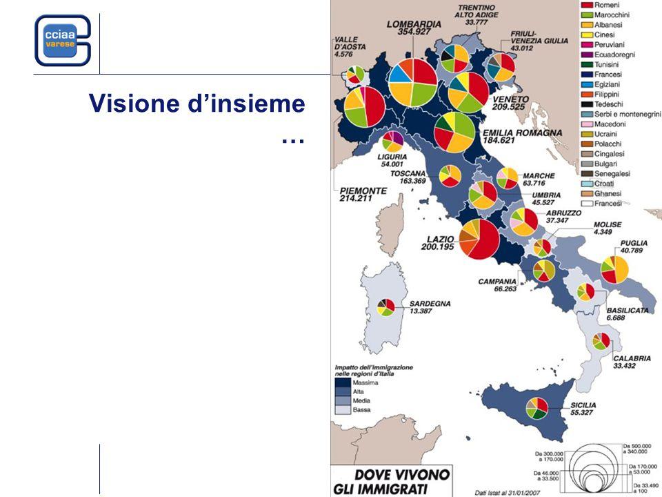 A Varese ogni 100 occupati 10 sono stranieri Fonte: Inail e Indagine FL, Istat 37mila
