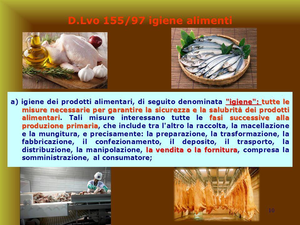 10 D.Lvo 155/97 igiene alimenti