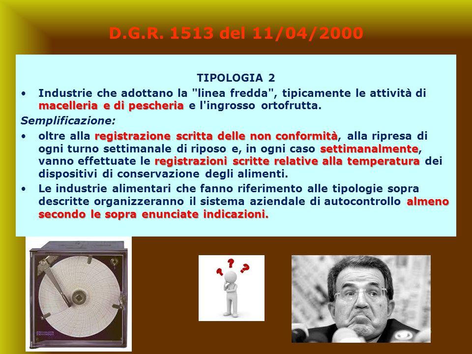 16 D.G.R. 1513 del 11/04/2000 TIPOLOGIA 2 macelleria e di pescheriaIndustrie che adottano la