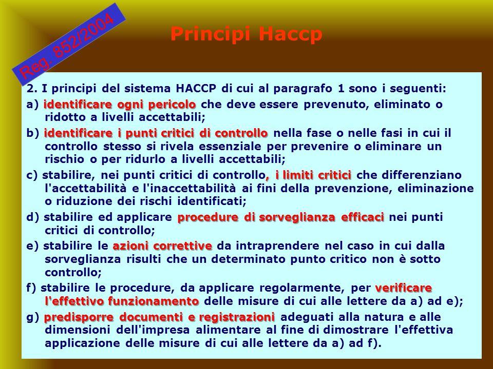 18 Principi Haccp 2. I principi del sistema HACCP di cui al paragrafo 1 sono i seguenti: identificare ogni pericolo a) identificare ogni pericolo che