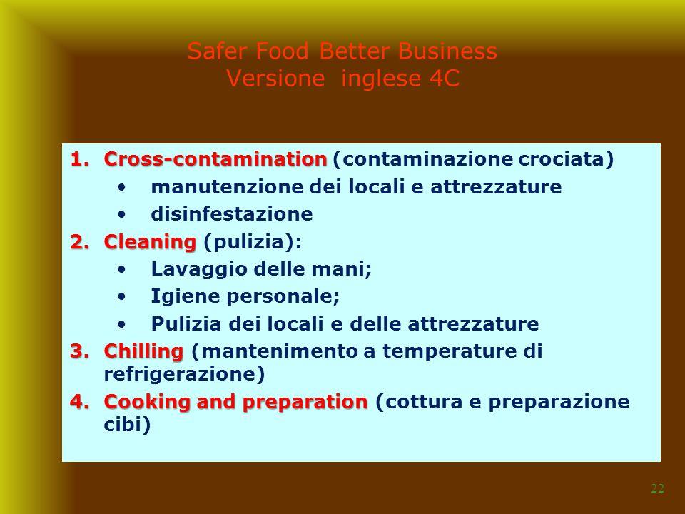 22 1.Cross-contamination 1.Cross-contamination (contaminazione crociata) manutenzione dei locali e attrezzature disinfestazione 2.Cleaning 2.Cleaning