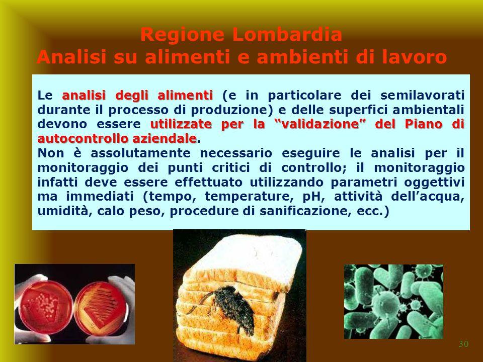 """30 Regione Lombardia Analisi su alimenti e ambienti di lavoro analisi degli alimenti utilizzate per la """"validazione"""" del Piano di autocontrollo aziend"""