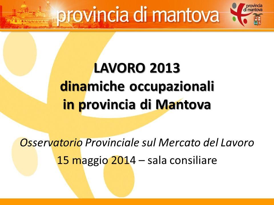 LAVORO 2013 dinamiche occupazionali in provincia di Mantova Osservatorio Provinciale sul Mercato del Lavoro 15 maggio 2014 – sala consiliare