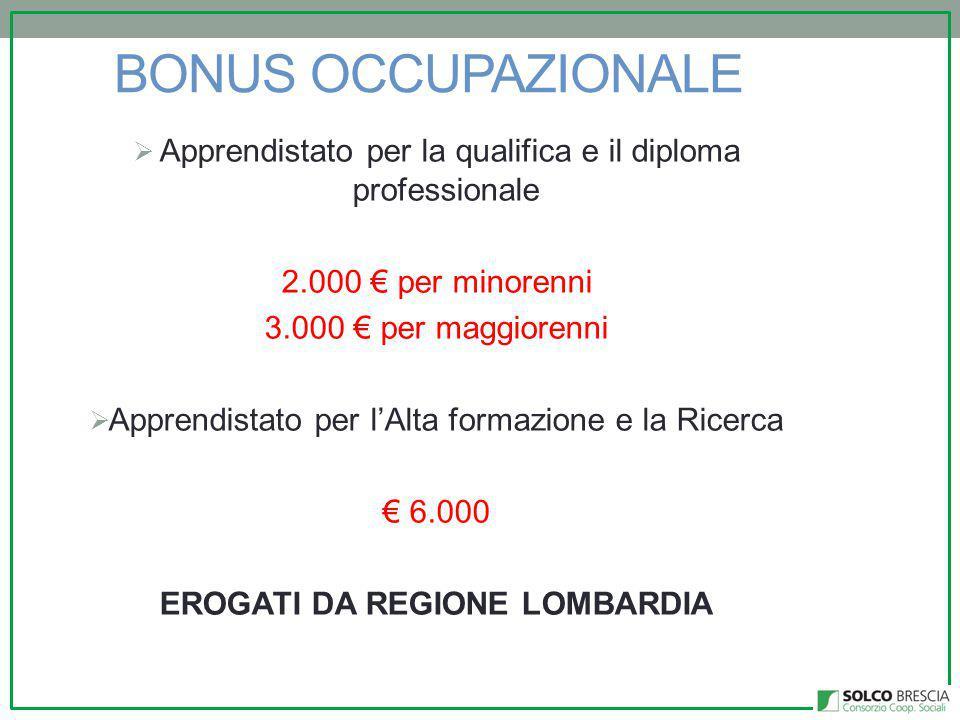 BONUS OCCUPAZIONALE  Apprendistato per la qualifica e il diploma professionale 2.000 € per minorenni 3.000 € per maggiorenni  Apprendistato per l'Alta formazione e la Ricerca € 6.000 EROGATI DA REGIONE LOMBARDIA