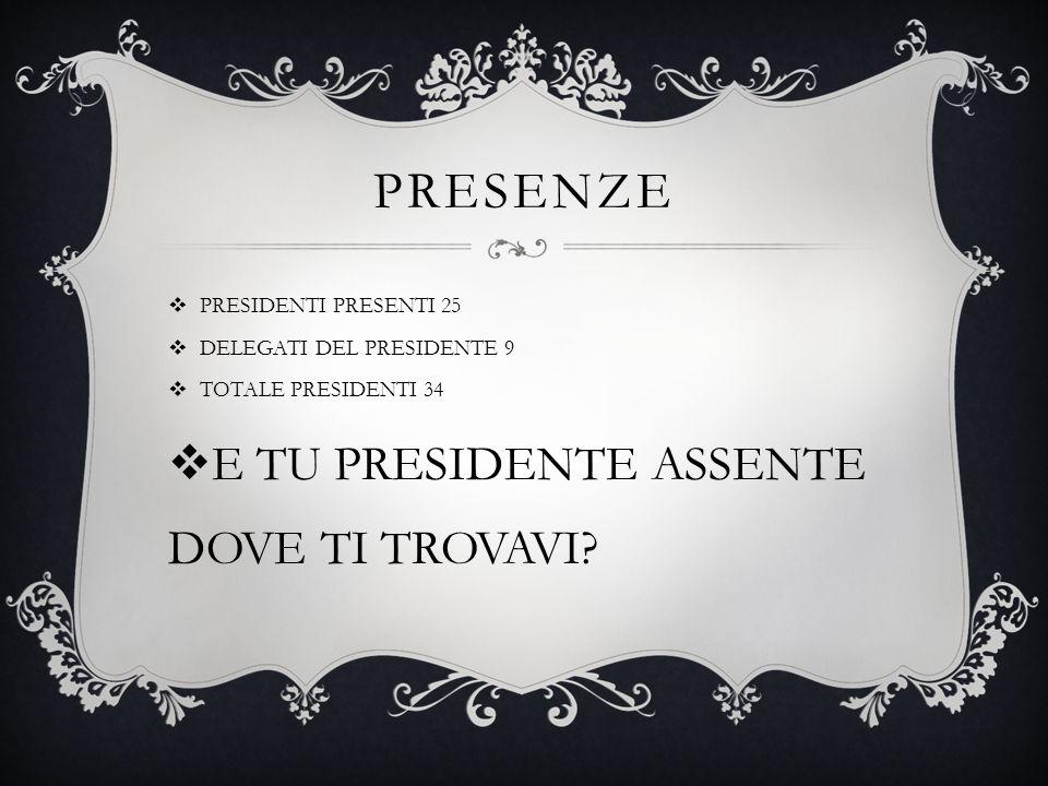 PRESENZE  PRESIDENTI PRESENTI 25  DELEGATI DEL PRESIDENTE 9  TOTALE PRESIDENTI 34  E TU PRESIDENTE ASSENTE DOVE TI TROVAVI