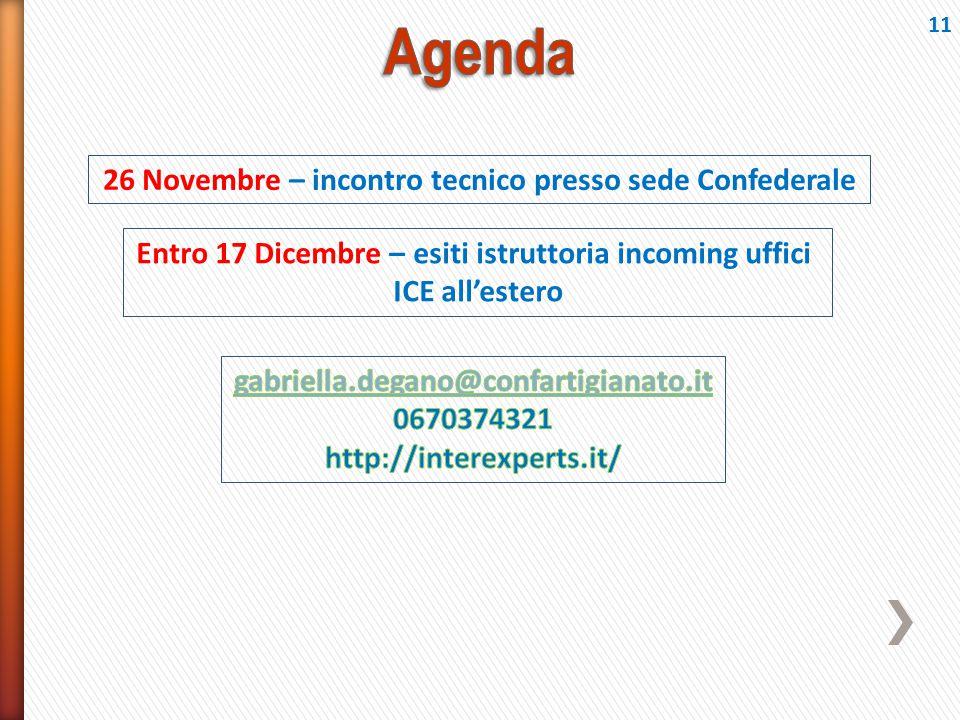 26 Novembre – incontro tecnico presso sede Confederale Entro 17 Dicembre – esiti istruttoria incoming uffici ICE all'estero 11