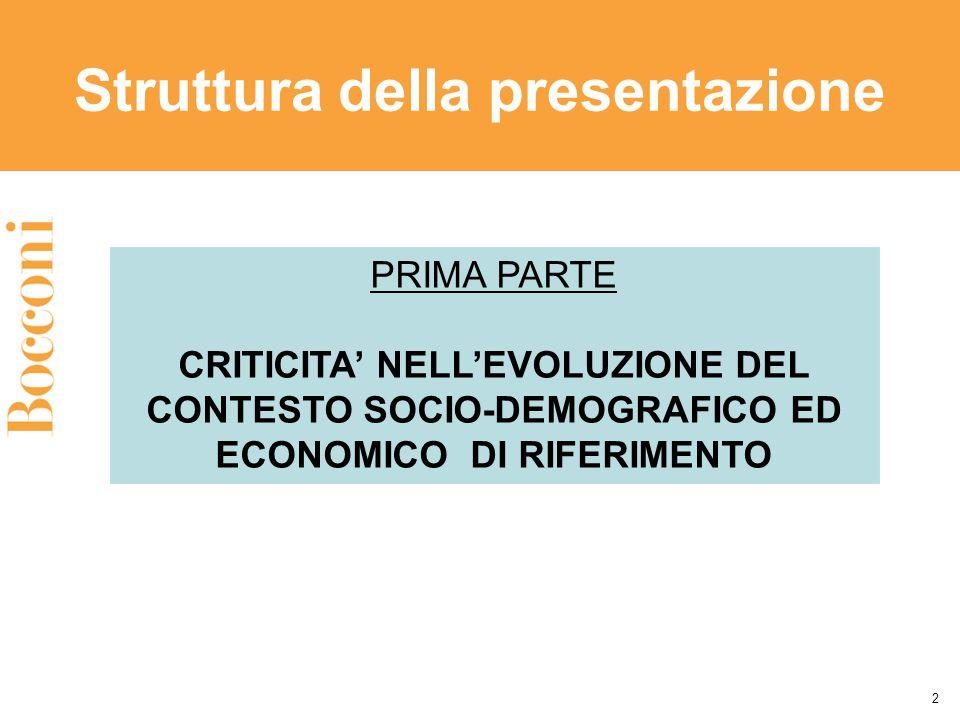 Struttura della presentazione 2 PRIMA PARTE CRITICITA' NELL'EVOLUZIONE DEL CONTESTO SOCIO-DEMOGRAFICO ED ECONOMICO DI RIFERIMENTO