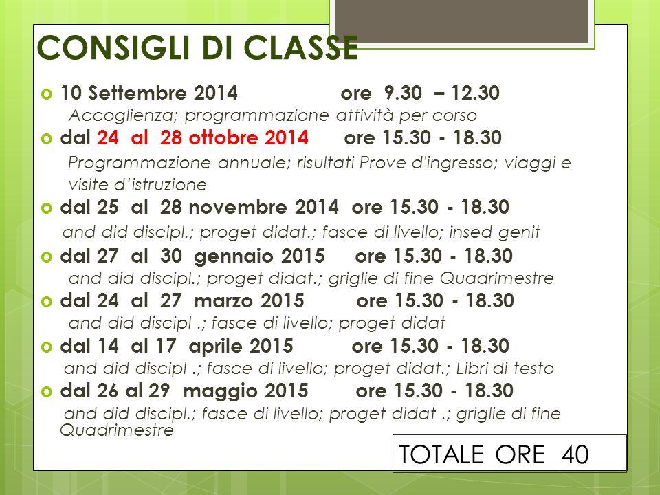 CONSIGLI DI CLASSE  10 Settembre 2014 ore 9.30 – 12.30 Accoglienza; programmazione attività per corso  dal 24 al 28 ottobre 2014 ore 15.30 - 18.30 P