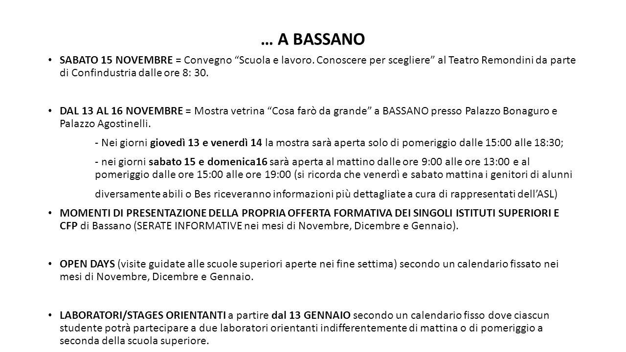 """… A BASSANO SABATO 15 NOVEMBRE = Convegno """"Scuola e lavoro. Conoscere per scegliere"""" al Teatro Remondini da parte di Confindustria dalle ore 8: 30. DA"""