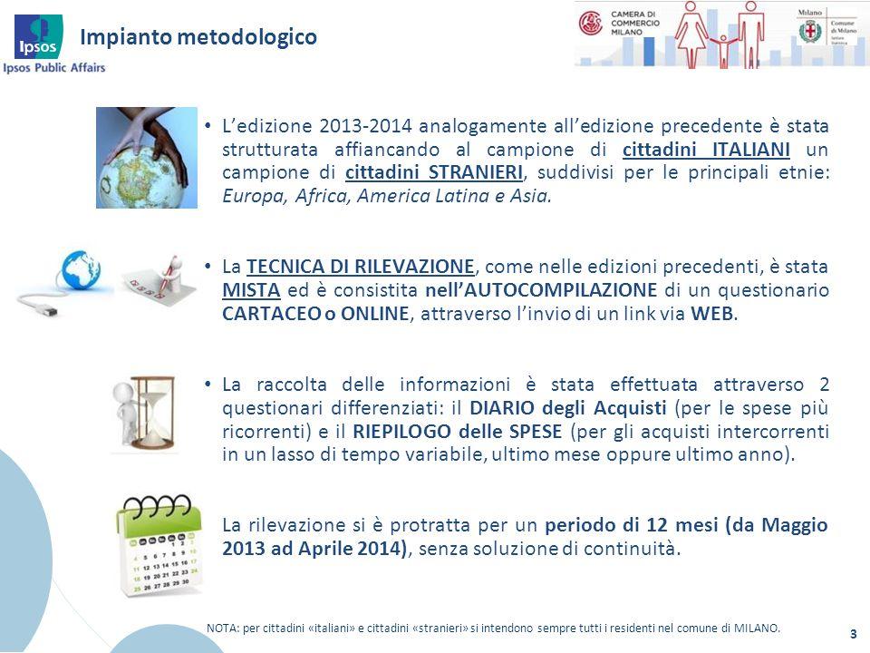 Metodo di campionamento 4 La dimensione campionaria totale è di 913 interviste: 739 famiglie di cittadini italiani e 174 famiglie di cittadini stranieri.