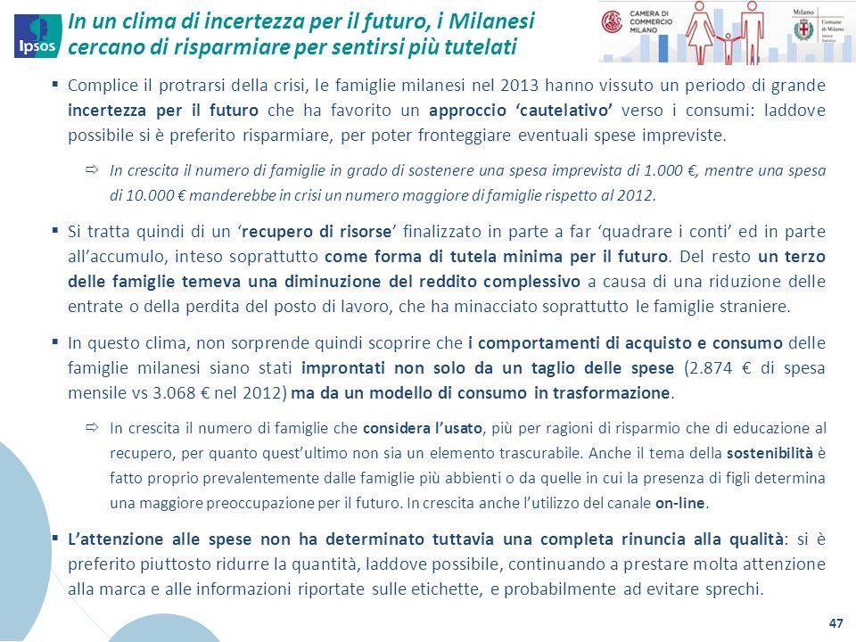 In un clima di incertezza per il futuro, i Milanesi cercano di risparmiare per sentirsi più tutelati  Complice il protrarsi della crisi, le famiglie