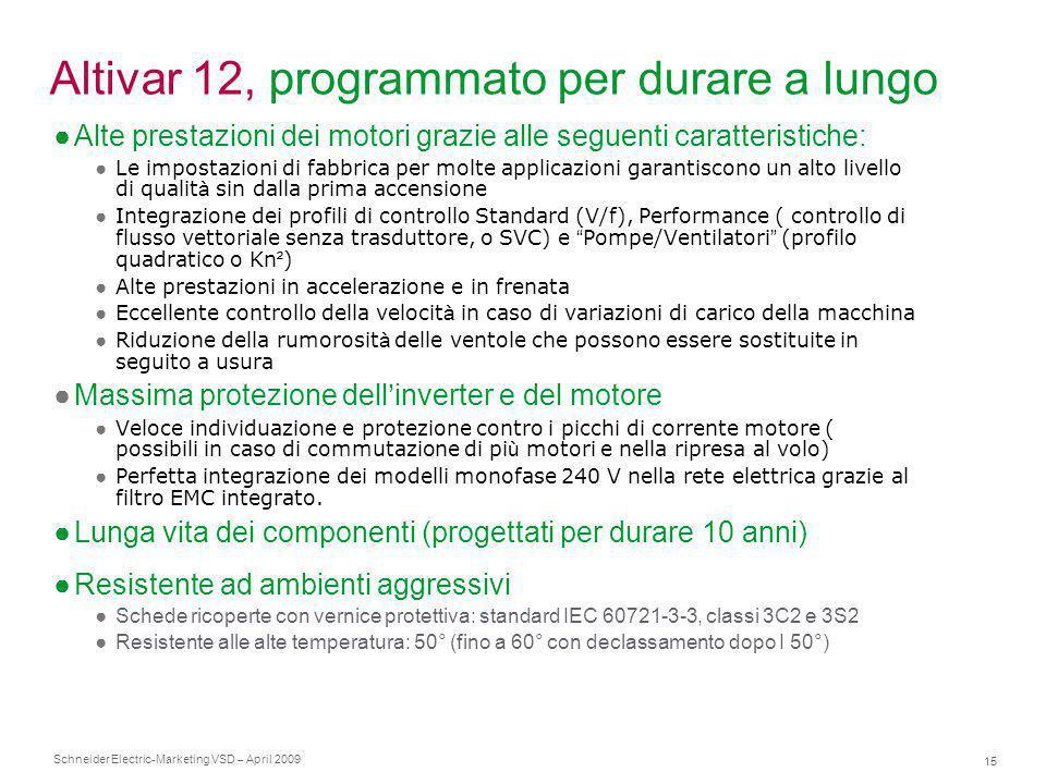 Schneider Electric 15 -Marketing VSD – April 2009 Altivar 12, programmato per durare a lungo ●Alte prestazioni dei motori grazie alle seguenti caratte