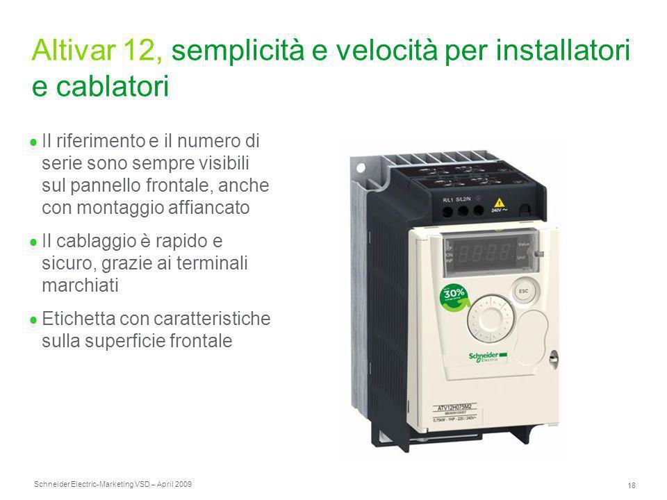 Schneider Electric 18 -Marketing VSD – April 2009 Altivar 12, semplicità e velocità per installatori e cablatori  Il riferimento e il numero di serie