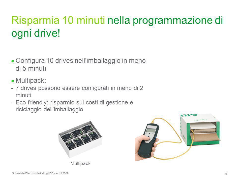 Schneider Electric 19 -Marketing VSD – April 2009 Risparmia 10 minuti nella programmazione di ogni drive!  Configura 10 drives nell'imballaggio in me