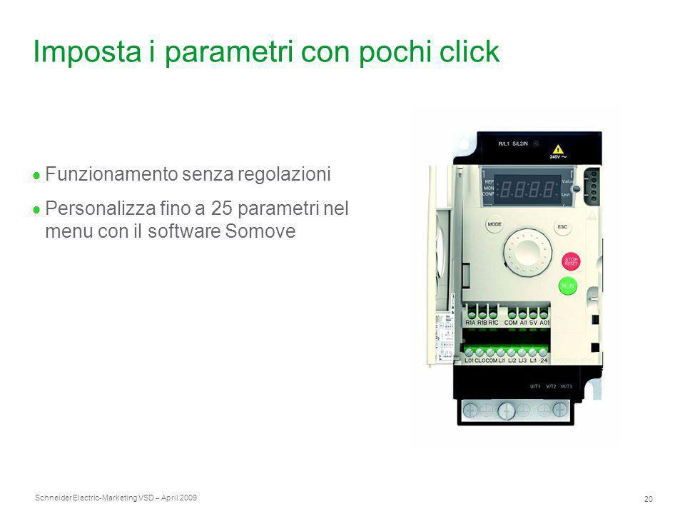 Schneider Electric 20 -Marketing VSD – April 2009 Imposta i parametri con pochi click  Funzionamento senza regolazioni  Personalizza fino a 25 param