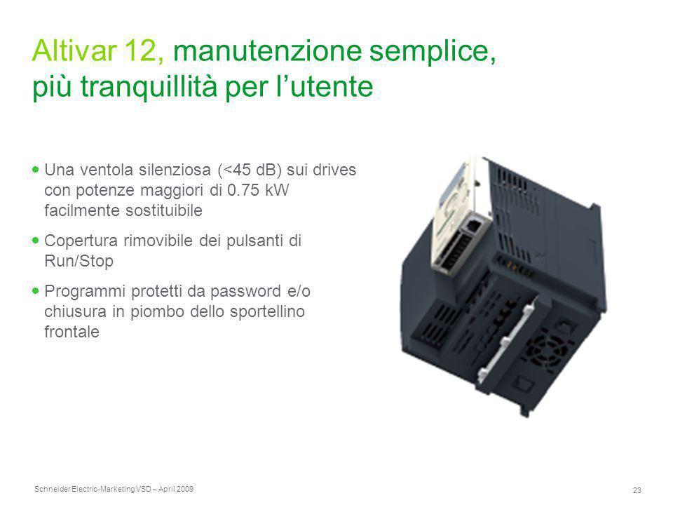 Schneider Electric 23 -Marketing VSD – April 2009 Altivar 12, manutenzione semplice, più tranquillità per l'utente  Una ventola silenziosa (<45 dB) s