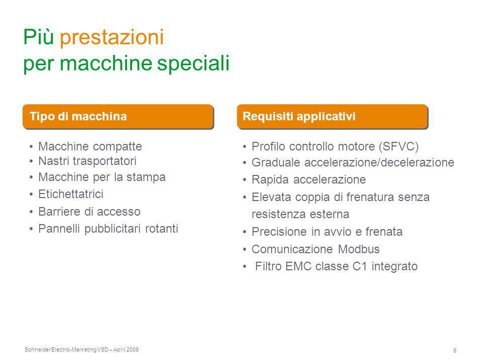 Schneider Electric 6 -Marketing VSD – April 2009 Più prestazioni per macchine speciali Tipo di macchinaRequisiti applicativi Macchine compatte Nastri