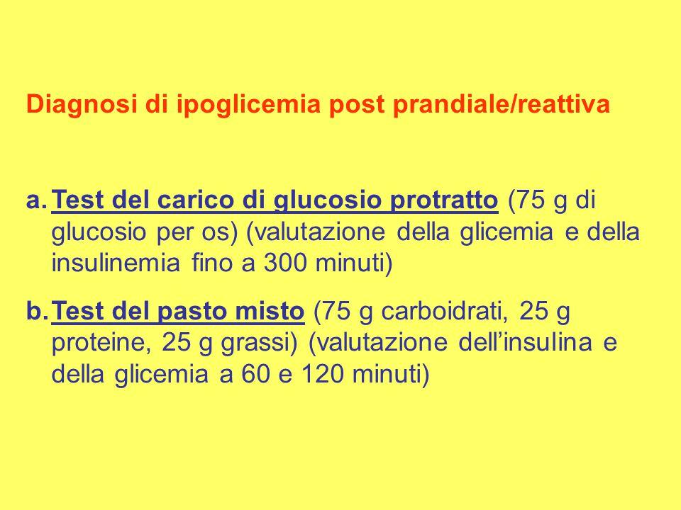 Diagnosi di ipoglicemia post prandiale/reattiva a.Test del carico di glucosio protratto (75 g di glucosio per os) (valutazione della glicemia e della insulinemia fino a 300 minuti) b.Test del pasto misto (75 g carboidrati, 25 g proteine, 25 g grassi) (valutazione dell'insulina e della glicemia a 60 e 120 minuti)