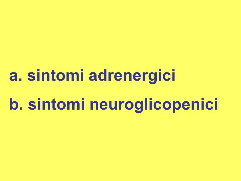 a. sintomi adrenergici b. sintomi neuroglicopenici