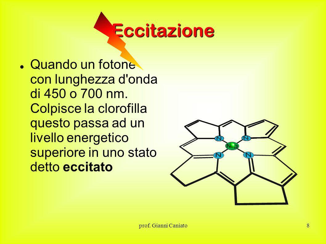 prof.Gianni Caniato8 Eccitazione Quando un fotone con lunghezza d onda di 450 o 700 nm.